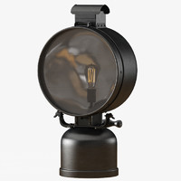 3d british railway flood lamp model
