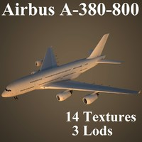 airbus a-380-800 airlines 3d max