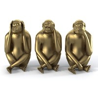 3d monkey statues set