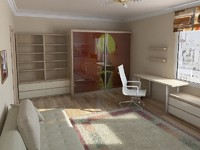 3d interior room furniture scene model