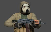 soldier in a gas mask