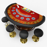 casino blackjack table - 3d model