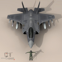 pilot - usaf fighters 3d dxf