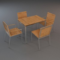 outdoor furniture 1 table chairs 3d max