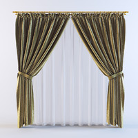3d curtains v-ray silk