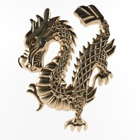 3d model bas-relief dragon