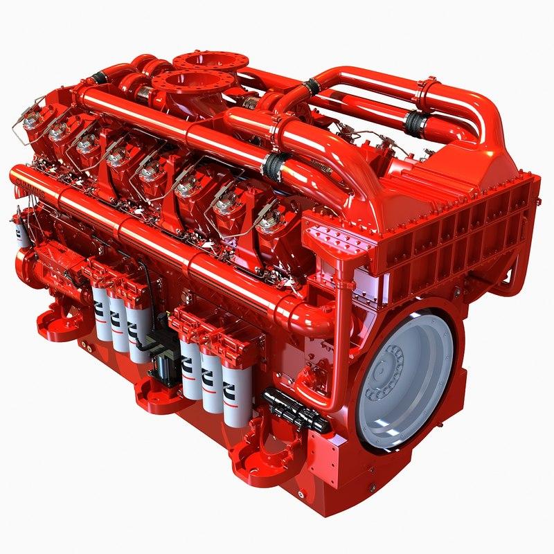 3d Cummins 16 Cylinders Diesel Engine