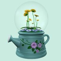 3d model flower globe