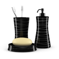 3d black bathroom fixtures model