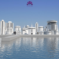 Low Poly Modern Building Set 02
