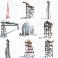 3d industrial towers model