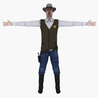 3ds sheriff gun hat