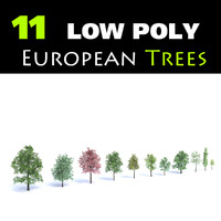 Set of 11 Low Poly Trees
