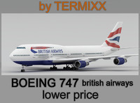 3ds max airplane boeing 747 british airways