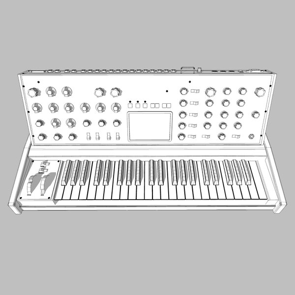 3d model keyboard synth synthesizer - Moog Voyager: Synthesizer Keyboard: C4D Model... by phantomliving