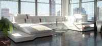 white leather sofa 3d model