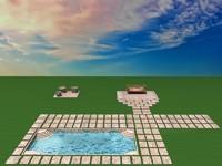 3d pool garden model
