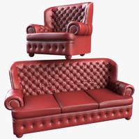 3d model of realistic chesterfield furniture