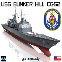 3d model uss bunker hill cg-52