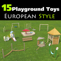 set 15 playground toys obj