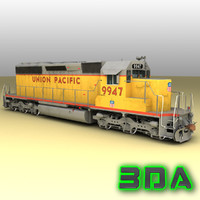 emd sd40-2 engines locomotive 3d max