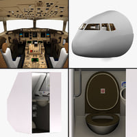 3d model boeing cockpit restroom