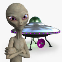 3d model of - grey alien rigged