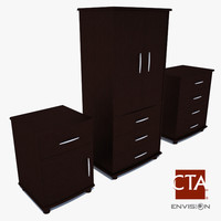 armoire chest wood 3d 3ds