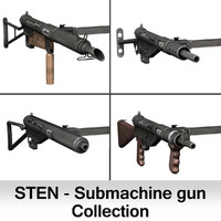 3d british sten submachine gun