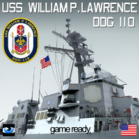 uss william p lawrence 3d model