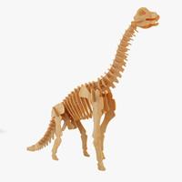 wooden brontosaurus 3d model