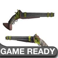 3d obj quad steampunk shotgun