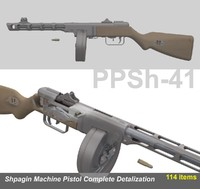 3d shpagin ppsh-41 complete model