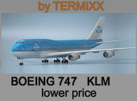 airplane boeing 747 klm 3d 3ds