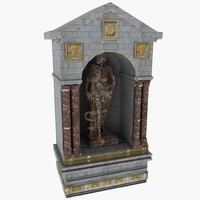 Statue Alcove old tomb graveyard grave building temple decorative archway cemetery ancient rome roman structure tomb sculpture art marble church monastery cathedral fountain element bas relief pediment scroll element molding moulding ornament ornate carved