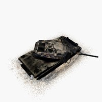 burned m1 abrams tank 3d model