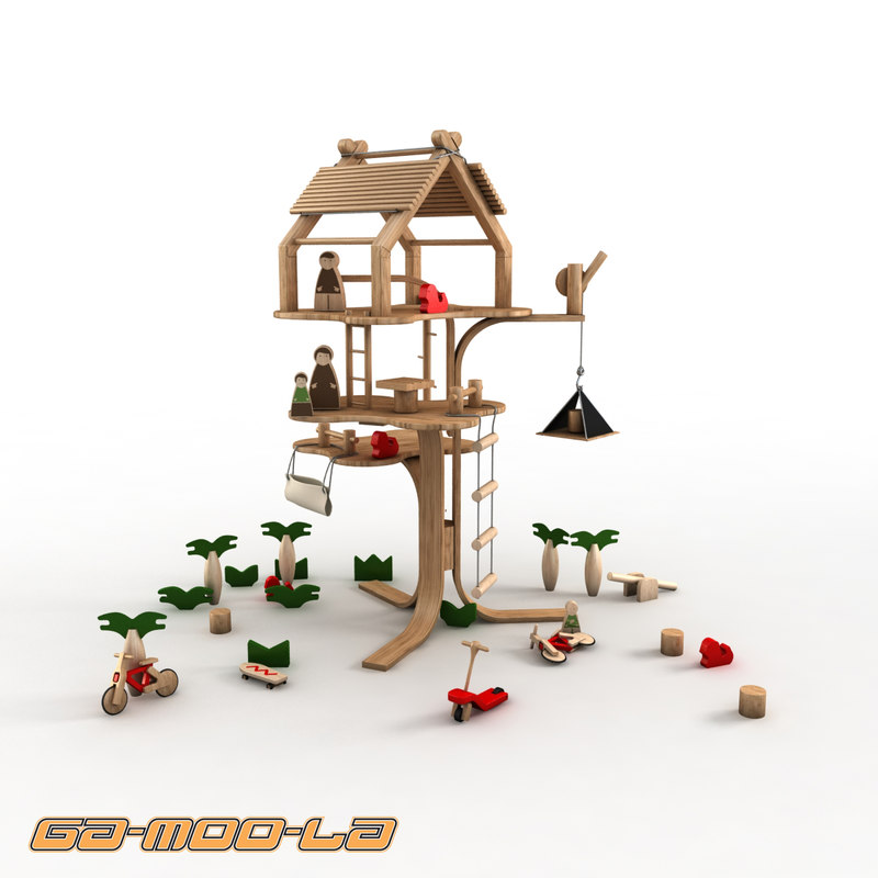 Children wooden treehouse 3d max for Kids wooden treehouse