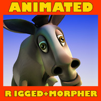 Rigged, animated cartoon donkey(1)