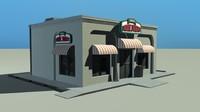 pizza restaurant 3d blend