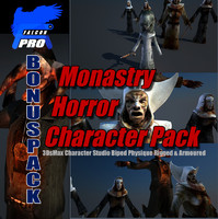 3d model monastery horror character pack