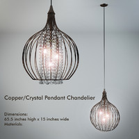 CopperCrystal Pendant Chandelier