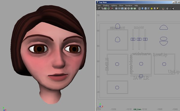 girl head rigged ma - Rigged Female Head... by Voxelocity