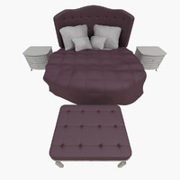 quilted bed set 3d model