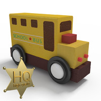 school bus wooden toy 3d max