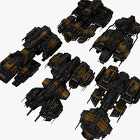 5 space battleships upgraded 3d max