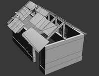 house destroyed damaged 3d model