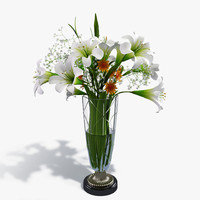 bouquet lilies flowers 3d model