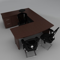 3d executive office set model