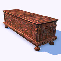 ornamental wooden cabinet 3d model