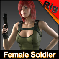 max rigged female soldier character